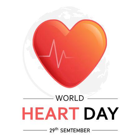 World Heart Day vector illustration on white background