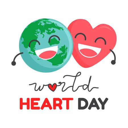 World Heart Day cartoon charactor vector illustration on white background Stock Illustratie