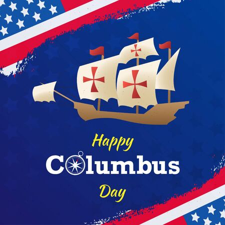 Illustration flat vector happy columbus day  background or banner graphic Vettoriali
