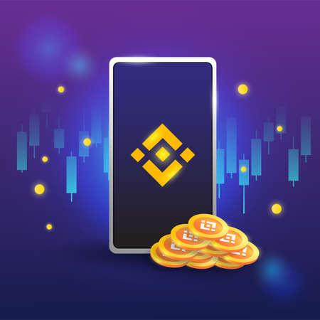 concept of binance, exchange platform crypto, token with phone vector on dark background Vecteurs