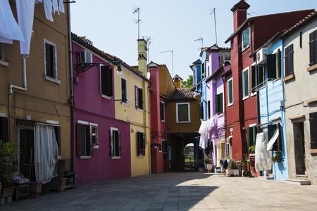 Italian landscape, houses in Burano Isle Stock Photo