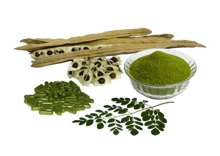 Moringa leaves, seeds, dry powder and capsules