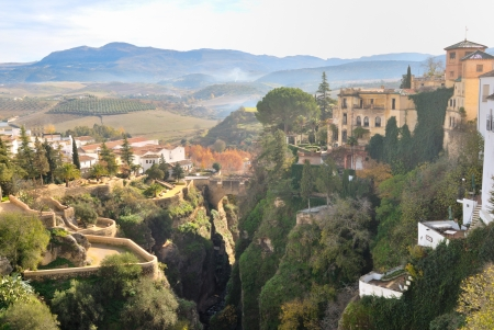 Beautiful view of Ronda, a beautiful mountainous city in the province of Malaga, Spain photo