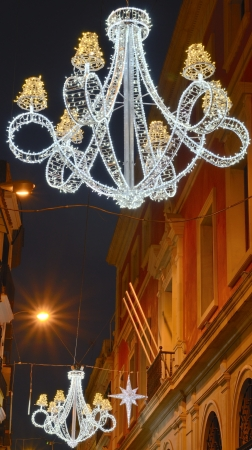 Decorated street in Christmas, Seville  Spain  photo