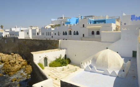 The colors  Blue and white  of the old Medina of Asilah, a fortified town on the northwest of Morocco, Africa  Stock fotó