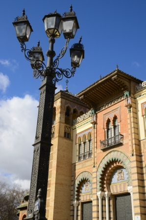 mudejar: Lampost next to Mudejar Pavilion in Seville, Spain