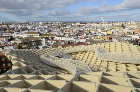 View of Seville from Metropol Parasol, January 22-2013, Seville (Spain)