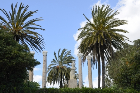 columnas romanas: Jard�n decorado con columnas romanas y palmeras Foto de archivo