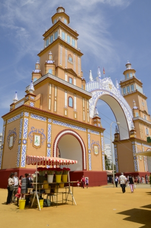 Seville, Spain, April 21, 2013: Main entrance to the April fair.