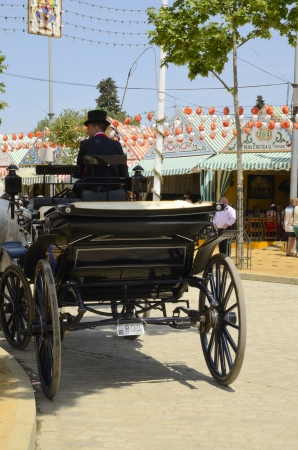 Seville, Spain, April 21, 2013: Horse car at the fairgrounds in Seville fair