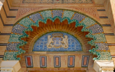 Mudejar Pavilion built for the Ibero-American Exposition of 1929 at Seville, Spain.