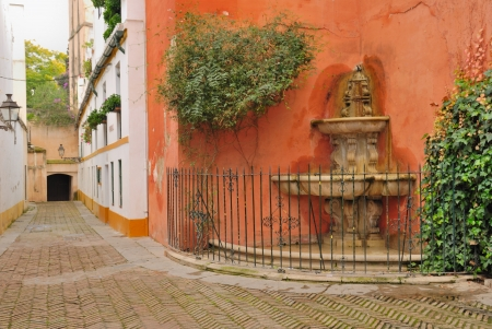 Fountain In Seville Old Jewish Quarter, Spain