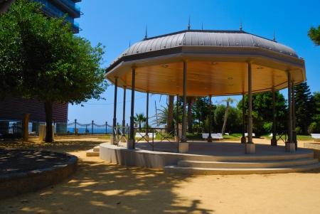 singular architecture: Picnic in park located in Jerez de la Frontera, Spain  Stock Photo