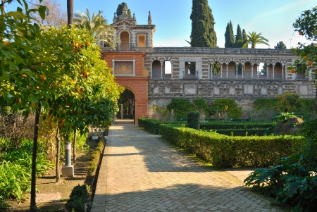 privilege: Privilege door in the Alcazar gardens  Royal Alcazars of Seville is a royal palace in Seville, Spain, originally a Moorish fort