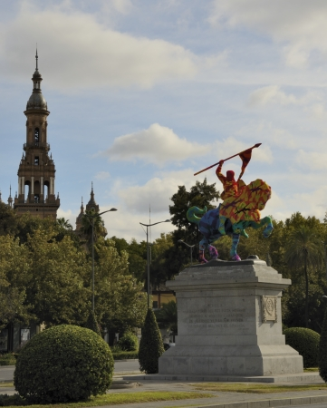 encapsulated: Seville, Spain - November 5, 2013, The Cid in Seville, Spain, covered in crochet by Crocheted Olek,  a Polish-born artist living in the United States
