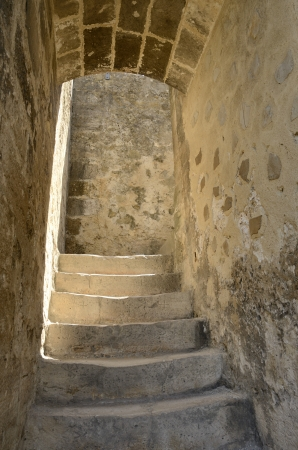 Stairs inside Saint George  Castle at Lisbon, Portugal photo