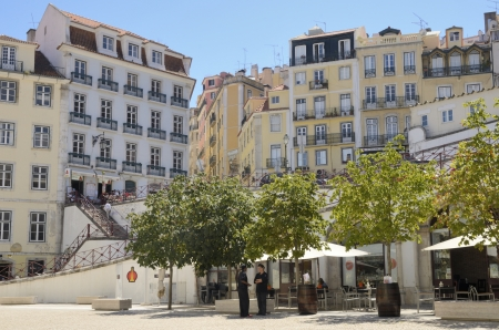 baixa: Lively area in the Baixa, the most central and important district of Lisbon, Portugal Editorial