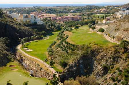 The Mediterranean sea seen from a golf course in Marbella, Andalusia, Spain