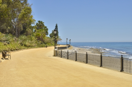 Footpath in the beach of Marbella, Andalusia, Spain Stock Photo