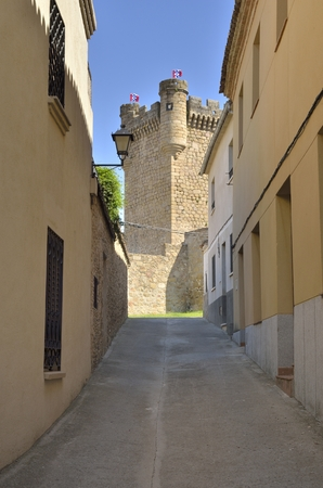Street ending in the castle of Oropesa, a Spanish town in the province of Toledo.