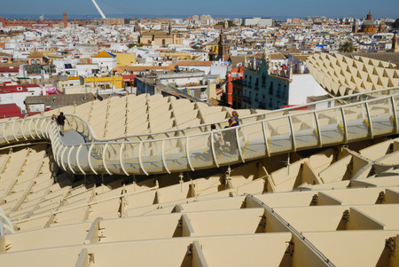 comtemporary: Metropol Parasol is a wooden building placed in La Encarnaci�n square, in the old quarter of Seville, Spain. It was designed by the German architect J�rgen Mayer-Hermann and completed in April 2011. The building is popularly known as Encarnaci�ns mushroo