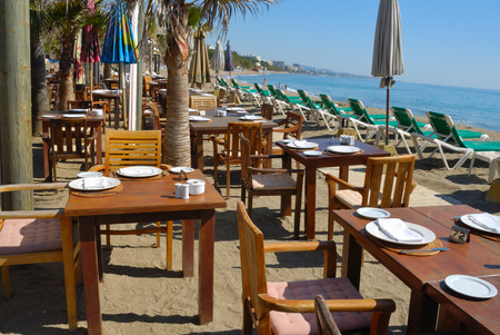 Restaurant and drinking local in the beach of Marbella (Spain) Stock fotó