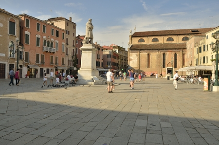 Plaza of Saint Stefano, where is located the church of Saint Stephen, Venice, Italy.