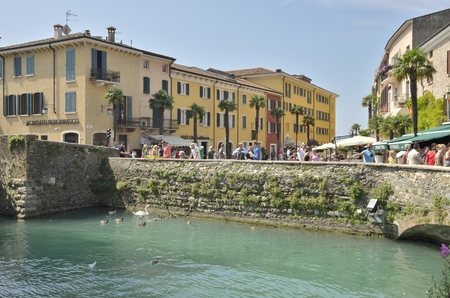 sirmione: Tourists  in Sirmione on lake Garda, Italy.  Editorial