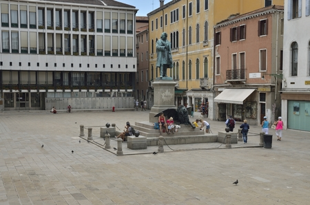 manin: Plaza Manin with the memorial sculpture to Manin and lion of St. Mark, the traditional symbol of Venice, Venice, Italy  Editorial