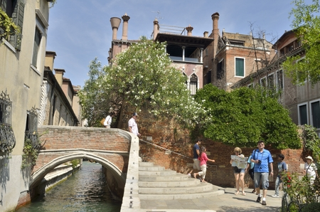 Litte bridge over canal in the district of Dorsoduro Venice, Italy.