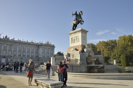 chaired: Western side of the Plaza of Oriente, chaired by the Royal Palace in Madrid, Spain.