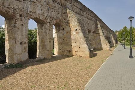 merida: Remains of an ancient Roman aqueduct in Merida, Spain