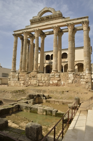 merida: Roman Temple of Diana in Merida, Extremadura, Spain. Stock Photo