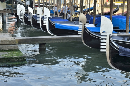 gondoliers: Some people and gondoliers on gondolas parked  in Venice, Italy.