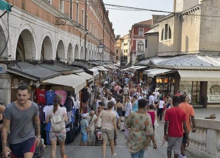 rialto: Lots of tourists at  the Rialto market in Venice, Italy. Editorial