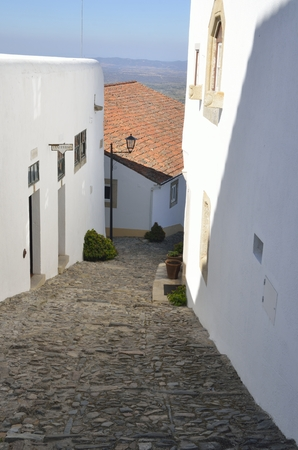 cobbled: Cobbled street� in the medieval village of Marvao, Portugal Stock Photo
