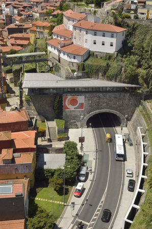 tunel: View of tunel road from the top of Dom Luis bridge in Porto, Portugal Editorial