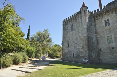 guimaraes: People next to Palace of the Dukes of Braganza of Guimaraes,   in the northern region of Portugal.