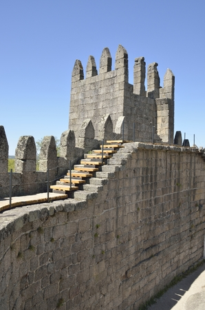 guimaraes: Stairs to one of the towers on the inner of the Castle of Guimaraes,  in the northern region of Portugal.