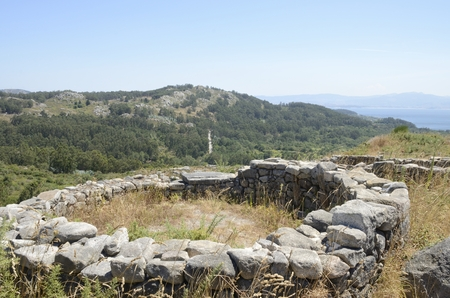 prehistorical: Prehistorical  Ruins of a hillfort the Mountain of Facho   in Cangas, in the province of Pontevedra, Galicia, Spain.