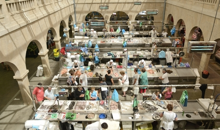 stalls: Stalls of  fresh seafood in the  market of Pontevedra, Spain Editorial