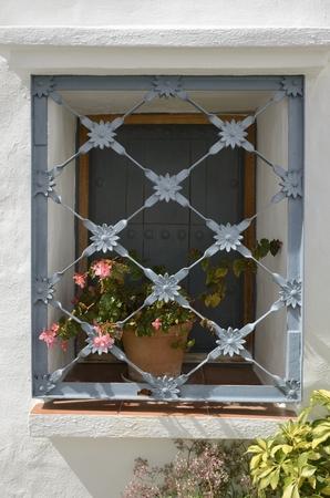 rejas de hierro: Barras de hierro en ventana con flores de maceta en Ojén, Andalucía, España