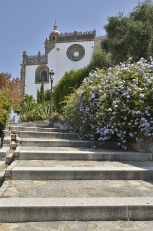 Stairs to the church in  the villlage of Medina Sidonia, a white town of the province of Cadiz, Andalusia, Spain