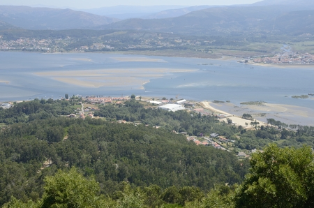 Portugal coastline antd the Minho estuary seen from the  Mount of Santa Tecla in Galicia, Spain. Stock Photo