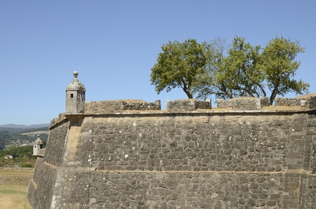 Walls of the fort of Valenca do Minho in Portugal. Stock Photo