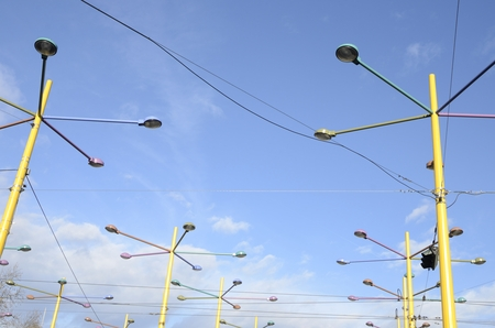 Colorful lamps at  Jakominiplatz in Graz,  the capital of federal state of Styria, Austria. Stock Photo