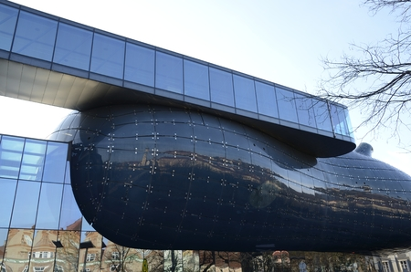 The art museum Kunsthaus designed by Peter Cook and Colin Fournier  in  Graz,  the capital of federal state of Styria, Austria.