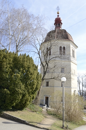 Bell tower Glockenturm  at the hill Schlossberg in Graz,  the capital of federal state of Styria, Austria.