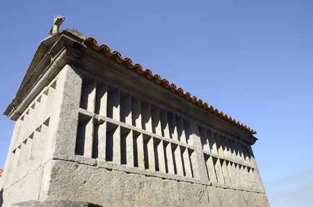 Horreo, a typical granary in Combarro, a village of the  province of Pontevedra in the Galicia region of Spain. Stock Photo