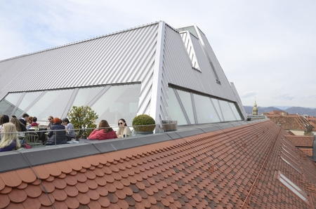 People at sky bar and roof of the Kastner and Ohler warehouses  in Graz, the capital of federal state of Styria, Austria.